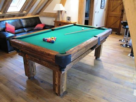 Artemis Rustic Log Hand made pool table by Vision Billiards