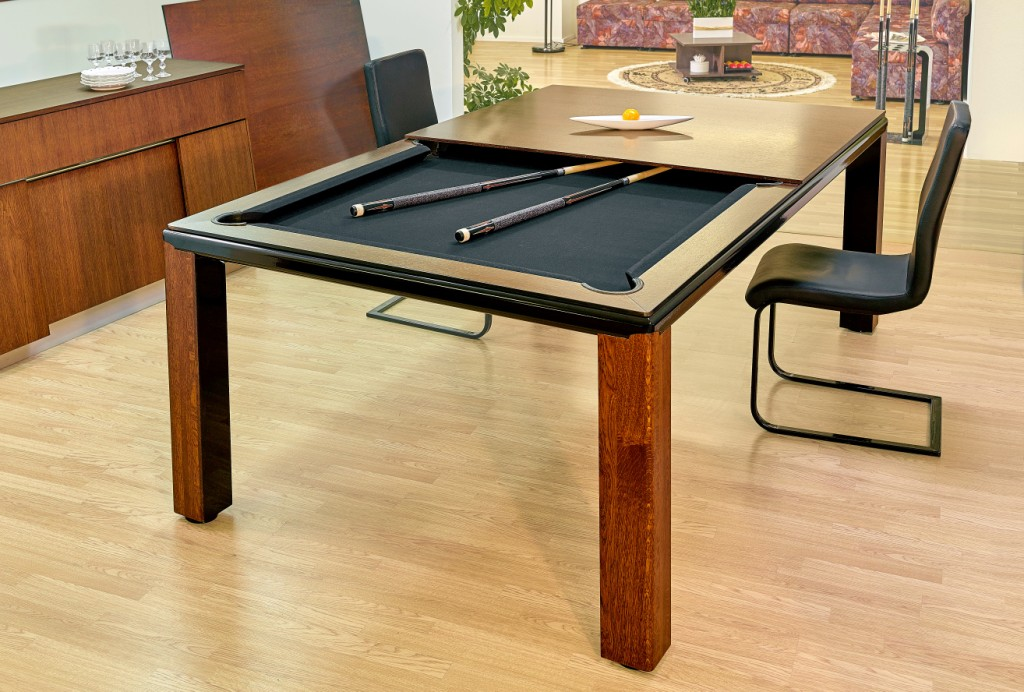 Convertible pool dining fusion table Ultra in wood by Vision Billiards