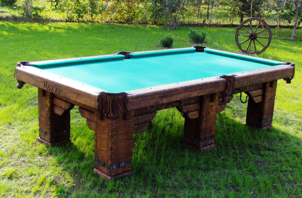 Wild West rustic log hand-made pool table by Vision Billiards outdoors