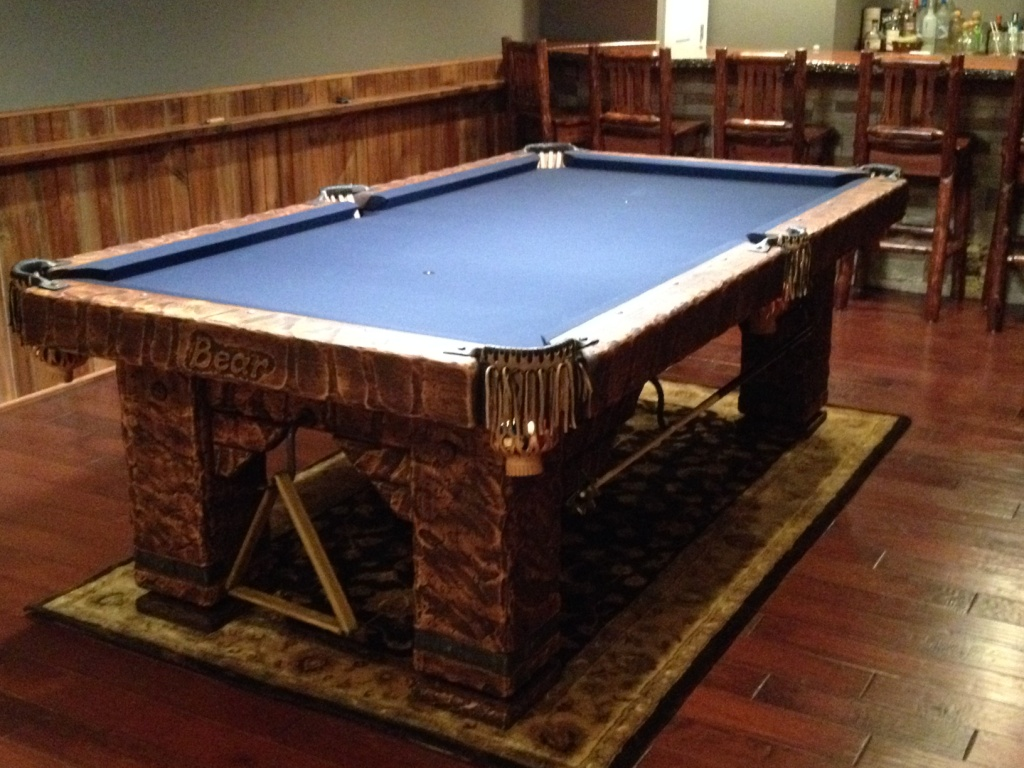 Wild West rustic log hand-made pool table by Vision Billiards 8 ft dark