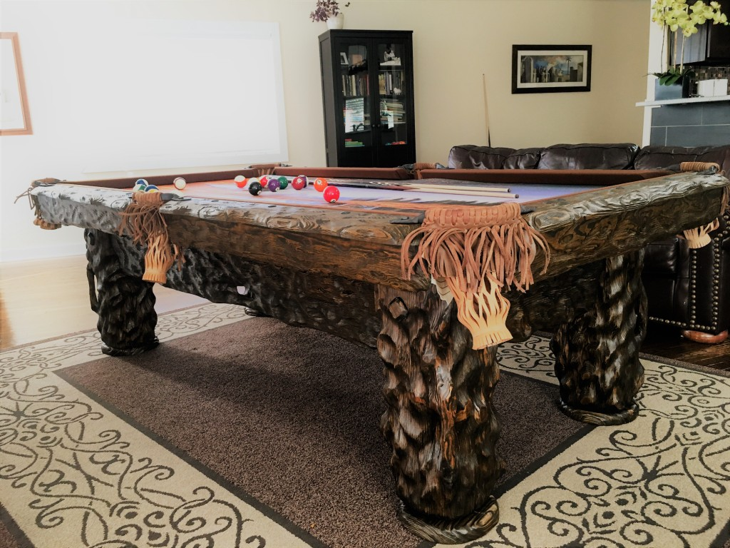 Wilderness rustic log hand-made pool table by Vision Billiards
